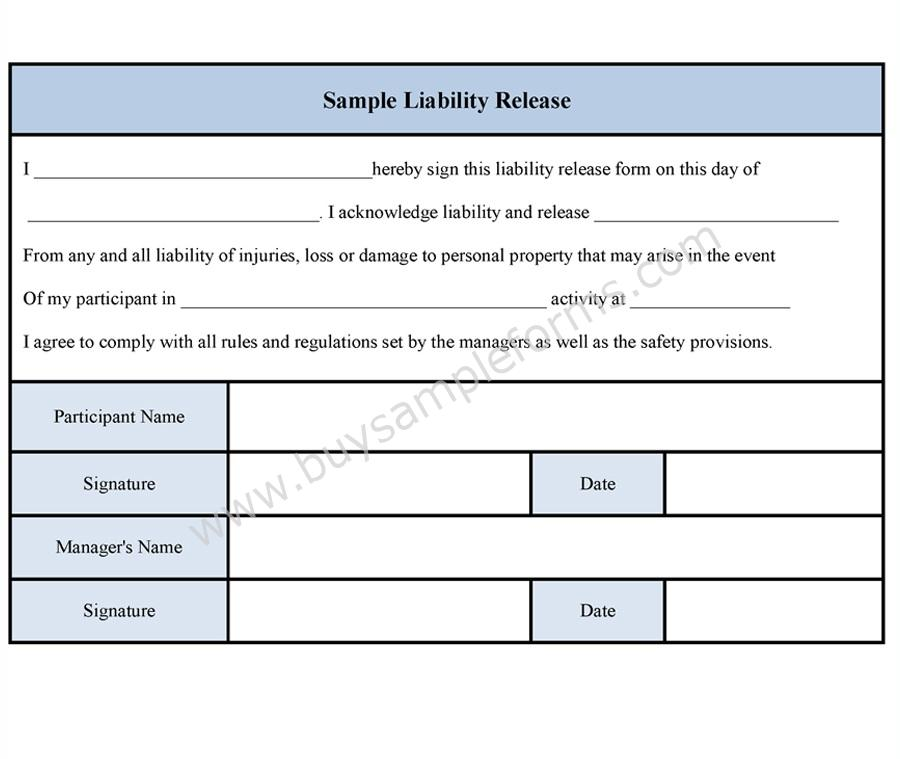 Sample liability release form for Release from liability form template
