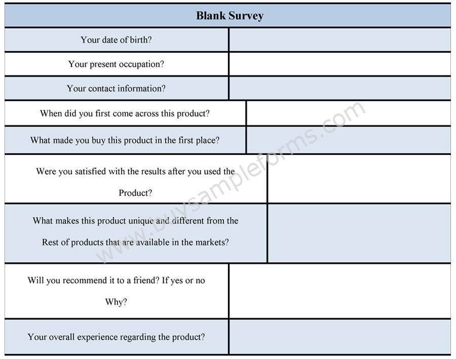 Blank Survey Form  Blank Survey Template  Sample  Buy Sample