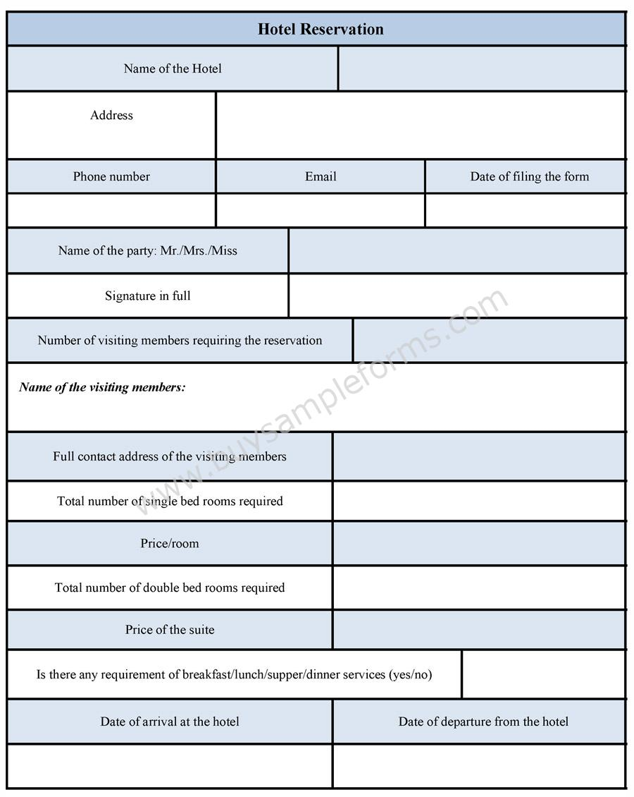 Hotel Reservation Form | Hotel Reservation Form Template | Sample ...