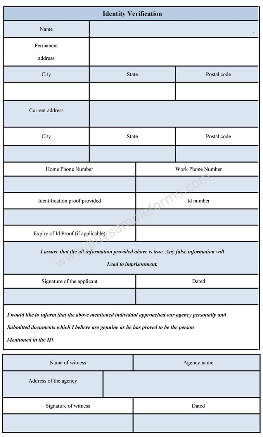 Identity Verification Form | Identification Verification Form ...