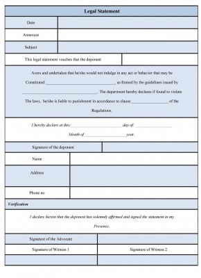 Legal Statement Form template