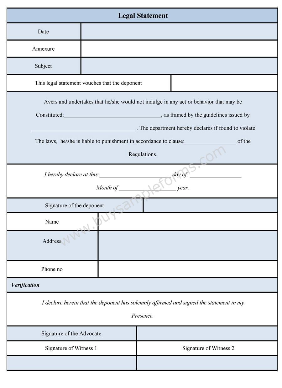 Legal Statement Form | Legal Statement Format | Buy Sample Forms ...