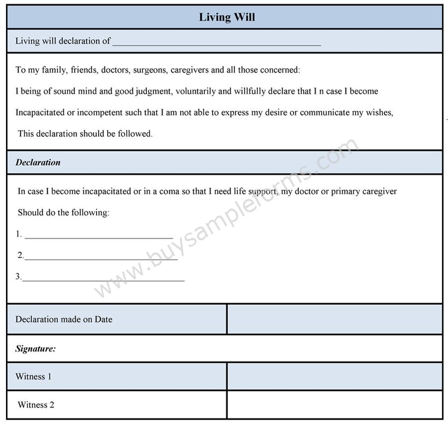 Living Will Form  Living Will Form Online Template  Buy Sample