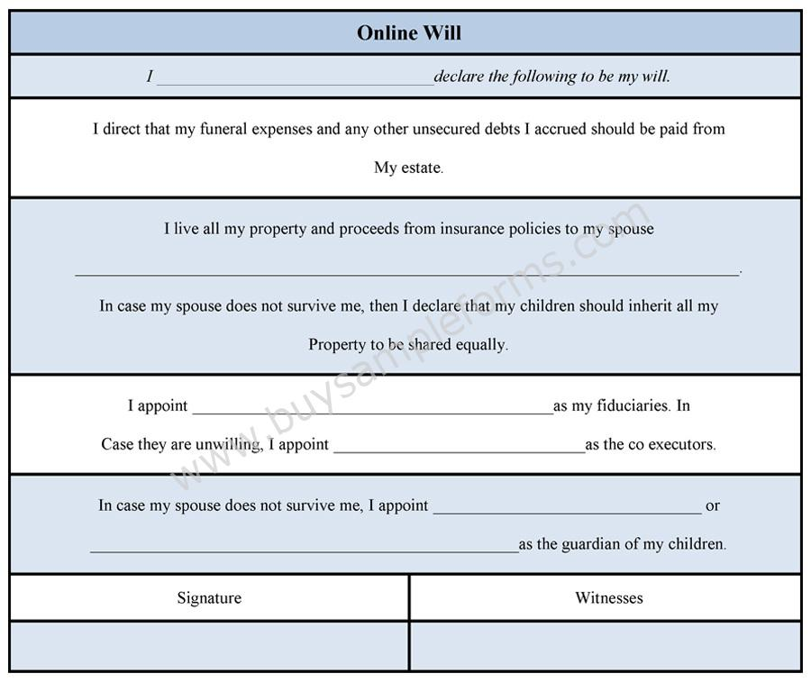 Online Will Form  Will Template And Format  Buy Sample Forms Online
