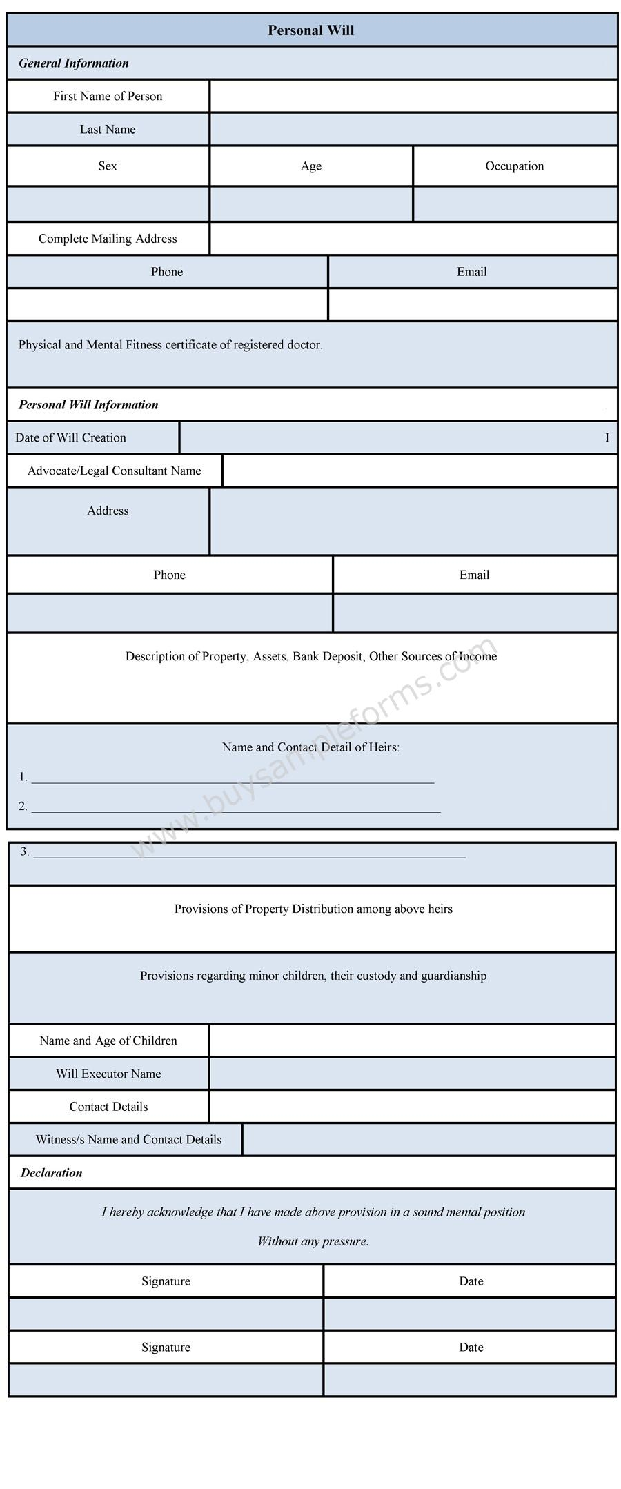 Personal Will Form | Will Template & Example | Sample Forms
