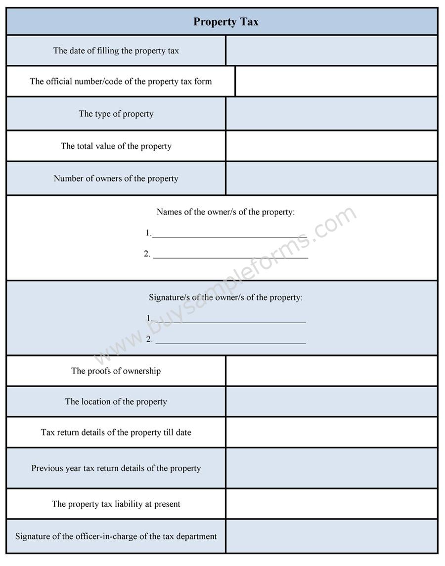 Property Tax Form | Property Tax Sample Form | Sample Forms