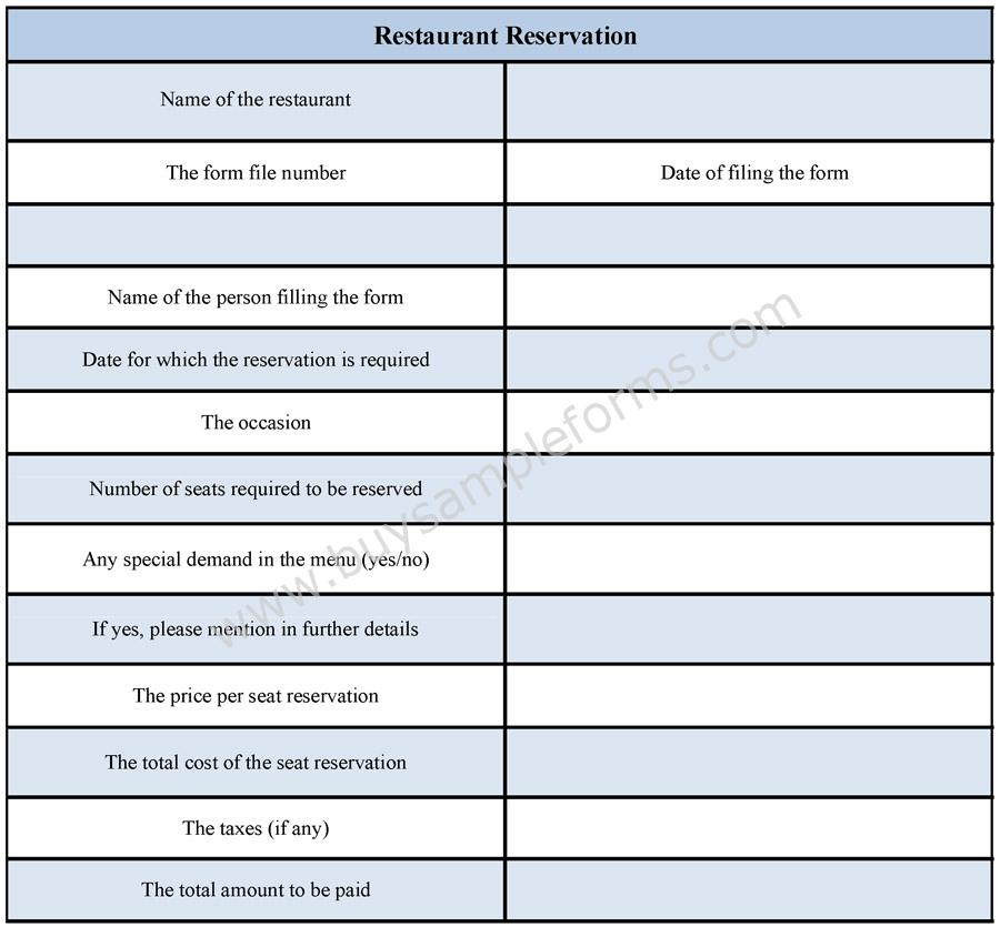 Restaurant Reservation Form  Buy Sample Forms Online
