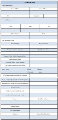 format of tour reservation form