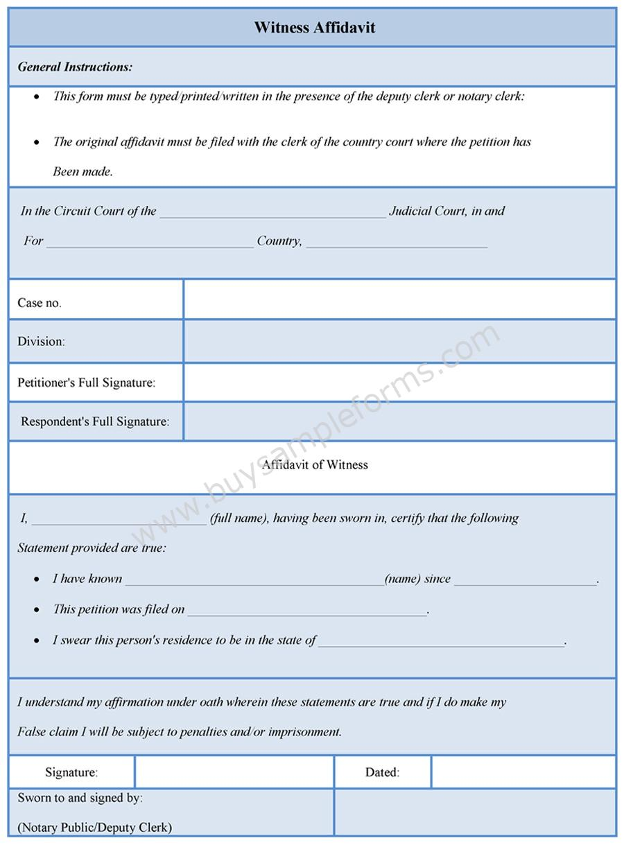 Download Easy To Edit Witness Affidavit Form At Only $3.00  Name Affidavit Form