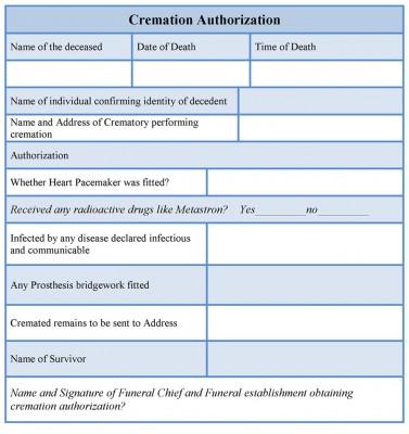 Cremation Authorization Form