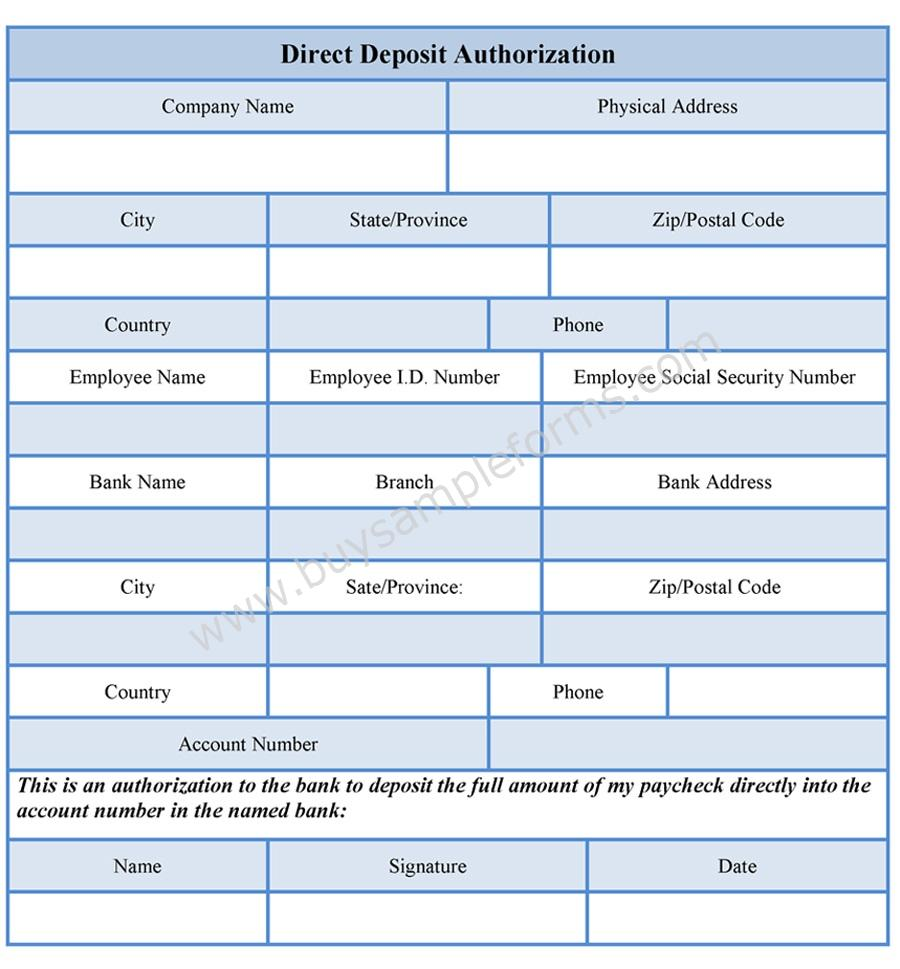 Direct Deposit Authorization Form | Buy Sample Forms Online