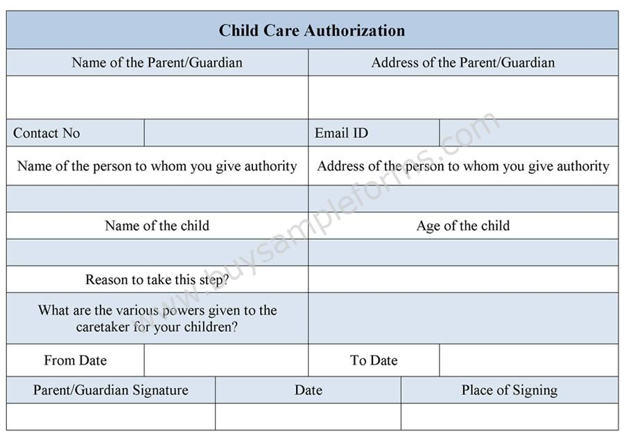 Child Care Authorization Form | Childcare Form Example | Buy