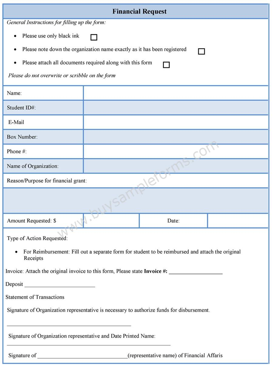 Financial Request Form Financial Request Form Template – Student Request Form