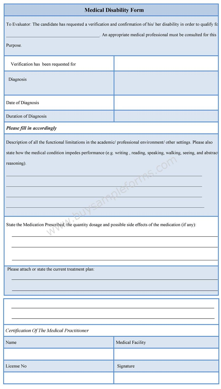 Download Easy To Edit Medical Disability Form At Only $3.00