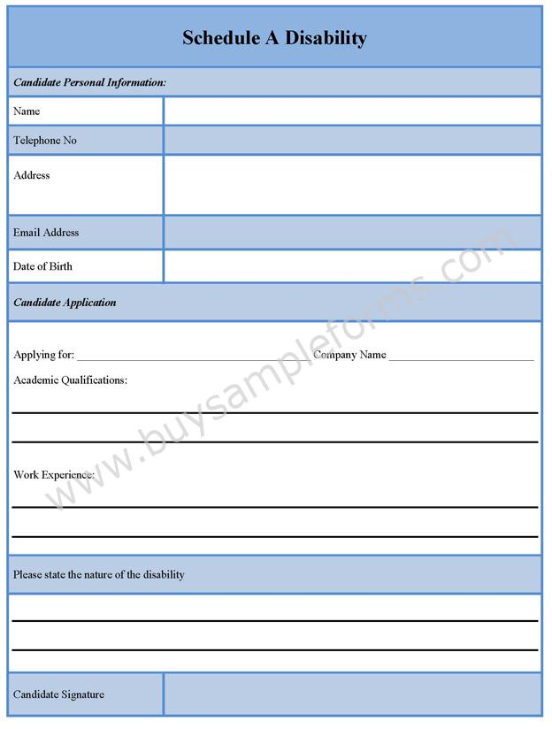 Schedule A Disability Form  Buy Sample Forms Online