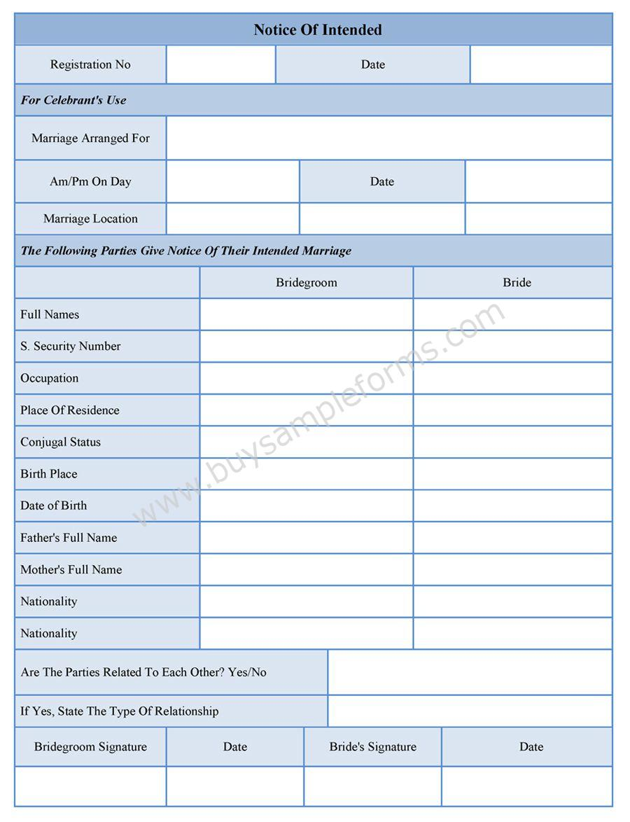 Notice of intended marriage form thecheapjerseys Gallery