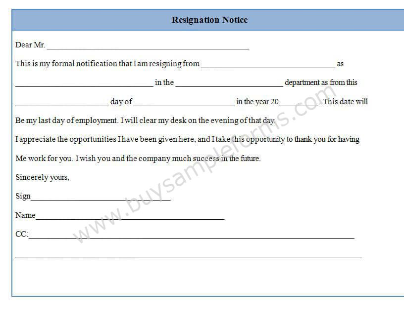 Resignation Notice Form Template Sample Format