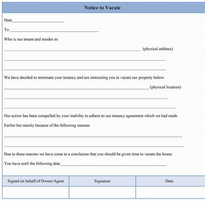 Notice to Vacate Form Sample