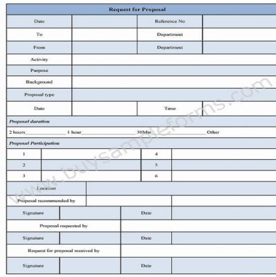Request For Proposal Form Template, Example | Buy Sample Forms Online