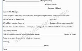 Two Week Notice Form Template in Word