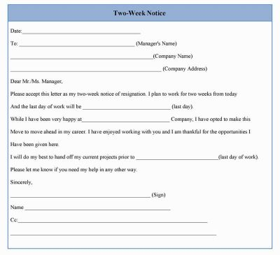 Two Weeks Notice Format. Two Week Notice Example Two Weeks Notice