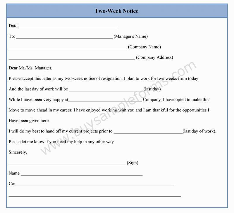 Two Week Notice Form Template In Word Sample Format