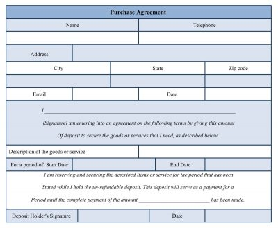 MS Word Purchase Agreement Form Template