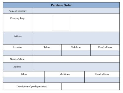 Purchase Order Form Template Word Documents
