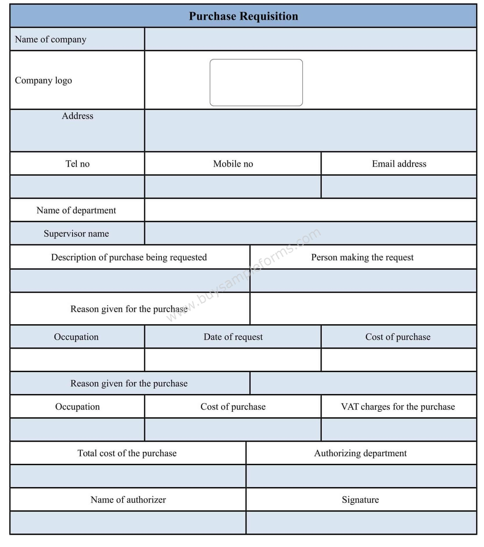 Purchase Requisition Form Template Doc