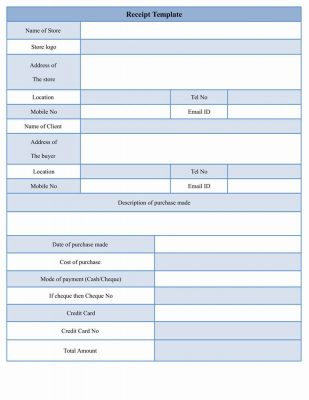 Sample Receipt Form Template