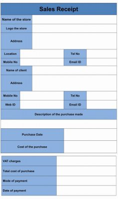 Sales Receipt Form Template word