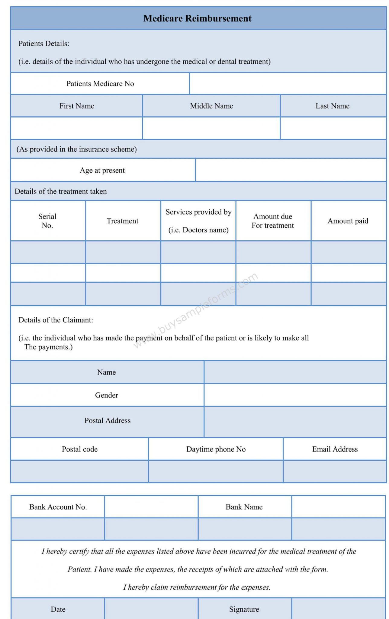 Sample Medicare Reimbursement Form – Reimbursement Form