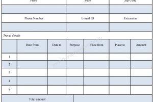 Travel Reimbursement Form Template Word