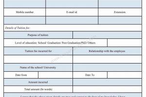 Tuition Fee Reimbursement Form