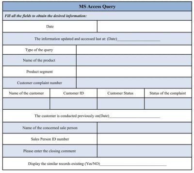 MS Access Query Form Template Sample