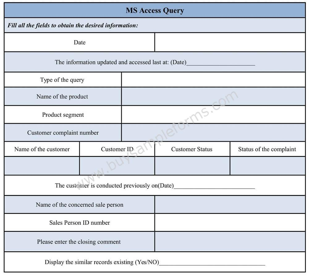 ms access query form template