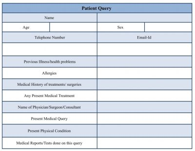 Patient Query Form Template