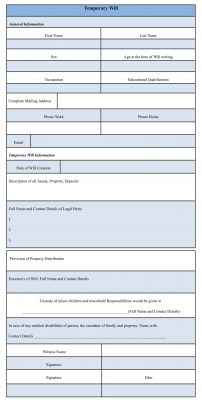 Temporary Will Form Sample Template