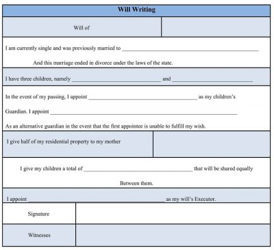 Sample Will Writing Form Template, will writing format