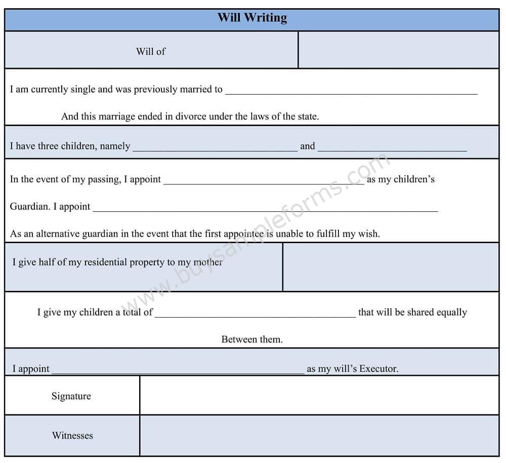 writing a will free template - sample will writing form will writing format