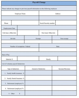 sample Payroll Change Form Word Document, Payroll Form Template