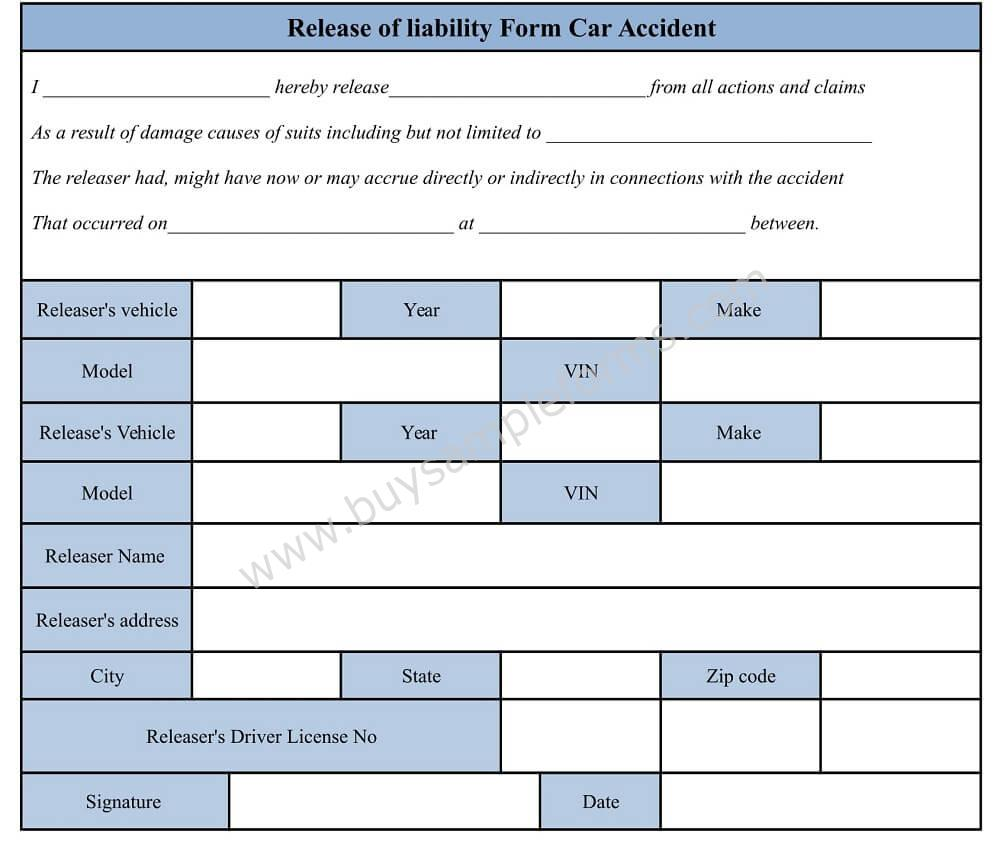 Accident Waiver And Release Of Liability Form, Auto Accident Template  General Release Of Liability Form Template