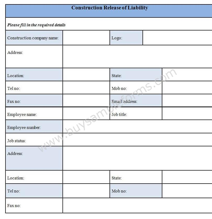 Download Construction Release Of Liability Form Template
