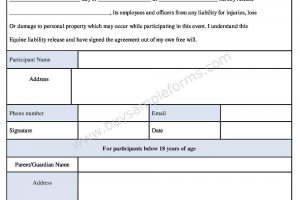 Download Equine Liability Release Form