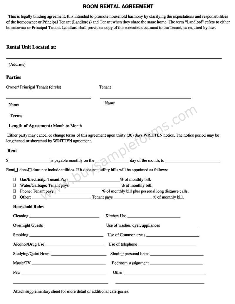 Room Rental Agreement Template Word Doc | Simple Rental Agreement Form