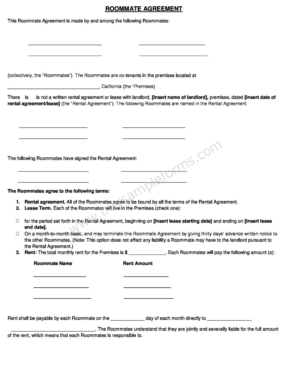 Sample Roommate Rental Agreement Form Template Word Doc