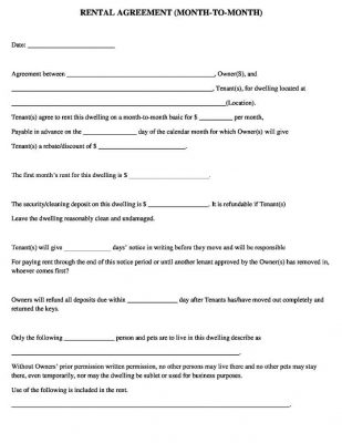 Simple Free Month to Month Rental Agreement form Template Word