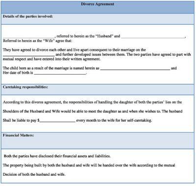 Divorce Agreement Form Template, Sample Divorce Settlement Agreement Form Word Download