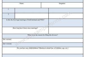 Sample Divorce Questionnaire Form Download