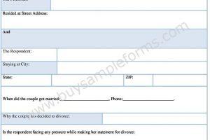 Sample No Fault Divorce Form Download in Word Format